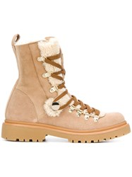 Moncler Shearling Lined Hiking Boots Nude And Neutrals