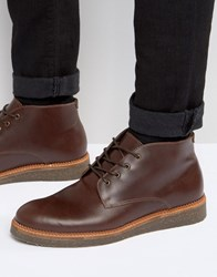 Asos Boots With Cork Sole In Burgundy Leather Burgundy Red