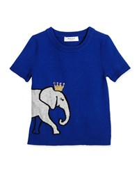 Milly Minis Short Sleeve Elephant Pullover Sweater Blue