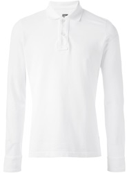Eleventy Long Sleeve Polo Shirt White