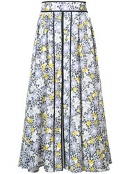 Carolina Herrera Floral Etched Midi Skirt Women Cotton Spandex Elastane 16 Yellow