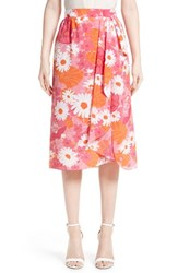 Michael Kors Women's Floral Print Silk Wrap Skirt