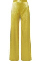 Brandon Maxwell Hammered Silk Satin Wide Leg Pants Chartreuse