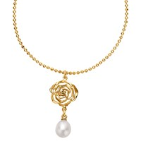 Dower And Hall Wild Rose Flower Pearl Drop Pendant Necklace Gold