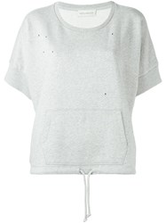 Faith Connexion Perforated Short Sleeve Jumper Grey