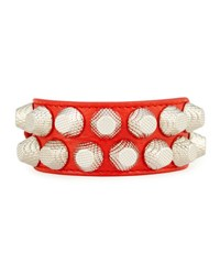 Balenciaga Giant 12 Wide Leather Bracelet With Studs Red