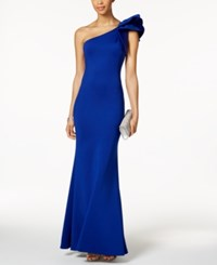 Betsy And Adam Ruffled One Shoulder Scuba Gown Cobolt