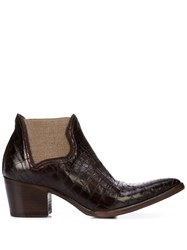 Alberto Fasciani Textured Pointy Boots Brown