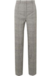 Versace Prince Of Wales Checked Wool Straight Leg Pants Gray
