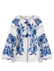Vita Kin Grapevine Embroidered Linen Blouse Blue Print