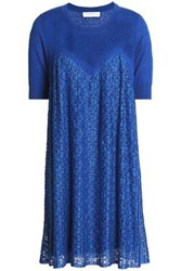 Sandro Pleated Lace Paneled Linen And Cotton Blend Mini Dress Blue