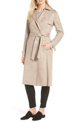 Tahari Mel Faux Suede Trench Coat Taupe