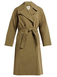 Nili Lotan Benning Double Breasted Cotton Trench Coat Dark Green