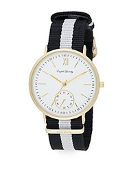 English Laundry Goldtone Stainless Steel Interchangeable Striped And Leather Strap Watch