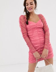 Finders Keepers Palermo Long Sleeve Ruched Mini Dress In Spot Mesh Pink