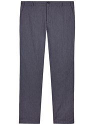 Jaeger Textured Cotton Regular Fit Chinos Navy