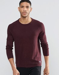 Pull And Bear Pullandbear Crew Neck Jumper In Burgundy Burgundy Red
