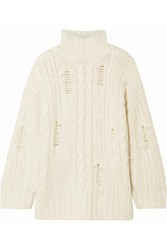 Current Elliott The Vin Distressed Cable Knit Turtleneck Sweater Cream