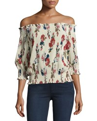 Romeo And Juliet Couture Floral Chiffon Off The Shoulder Blouse Multi Pattern
