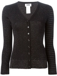 Sonia By Sonia Rykiel Lurex Striped Cardigan Black