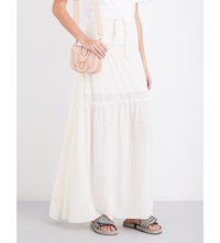 See By Chloe Drawstring Tiered Gauze Maxi Skirt White