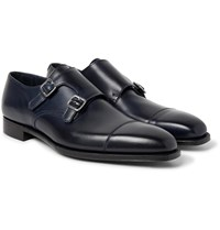 George Cleverley Thomas Cap Toe Suede Monk Strap Shoes Blue