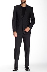 Vince Camuto Black Windowpane Two Button Notch Collar Modern Fit Wool Suit