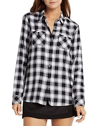 Bcbgeneration Plaid Button Up Shirt Black Peacoat