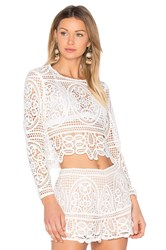 Aijek Blackjack Embroidered Cropped Blouse White