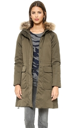 Add Down Down Parka With Fur Border Jungle Green