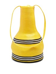 Rosie Assoulin Striped Woven Straw Jug Shoulder Bag Black Yellow