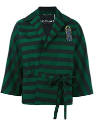 Rochas Striped Belted Cropped Jacket Green