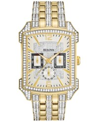Bulova Men's Crystal Gold Tone Stainless Steel Bracelet Watch 33X42mm 98C109 No Color