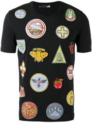 Love Moschino Multi Print T Shirt Men Cotton Spandex Elastane M Black