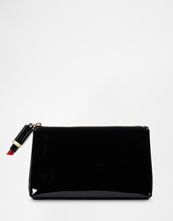 Lulu Guinness Patent T Seam Make Up Bag With Lipstick Zip Patenttseam