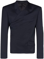 Martine Rose Wrap Wool Blazer Blue