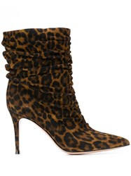 Gianvito Rossi Leopard Print Heeled Boots Brown