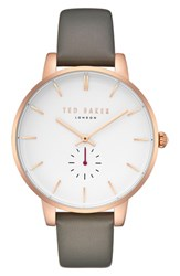 Ted Baker London Olivia Leather Strap Watch Grey White Rose Gold