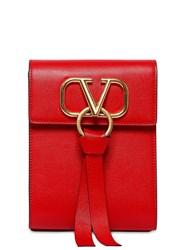 Valentino Garavani Mini Vring Ribbon Leather Backpack Rouge Pure