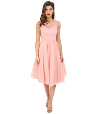 Unique Vintage High Society Mesh Overlay Cocktail Dress Peach Dot Women's Dress Pink