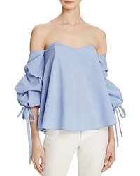 Do And Be Bustier Tie Sleeve Top Dusty Blue