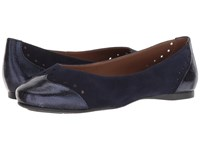 French Sole Civil Flat Navy Suede Metallic Shoes Blue