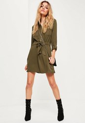 Missguided Khaki Tie Waist Military Shirt Dress