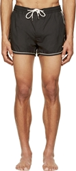Marc By Marc Jacobs Black And White Piped Solid Swim Shorts
