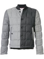 Thom Browne Downfilled Button Front Jacket In Funmix In Prince Of Whales Heavy Wool Wool Goose Down Black