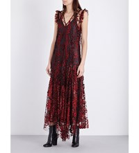 Opening Ceremony Glitter Embellished Tulle Dress Red Multi