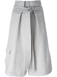 Msgm Tie Waist Short Trousers Grey
