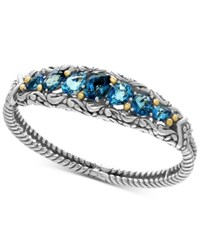 Effy Ocean Bleu London Blue Topaz 7 1 2 Ct. T.W. And Swiss Blue Topaz 5 1 8 Ct. T.W. Bracelet In Sterling Silver And 18K Gold