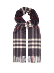 Burberry Exploded Check Cashmere Scarf Navy