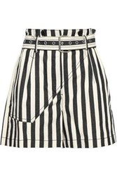 3.1 Phillip Lim Woman Belted Striped Cotton Canvas Shorts Cream